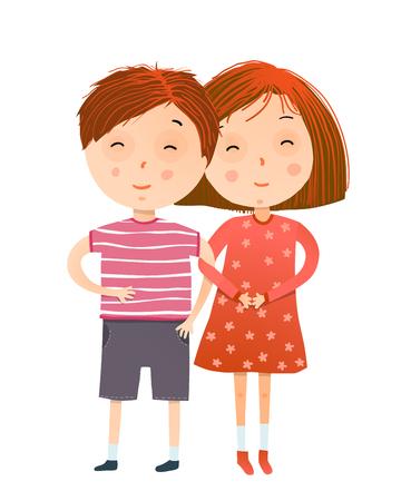Illustration pour Little kids friendship, a cute boy and an adoreble girl. Vector illustration. - image libre de droit