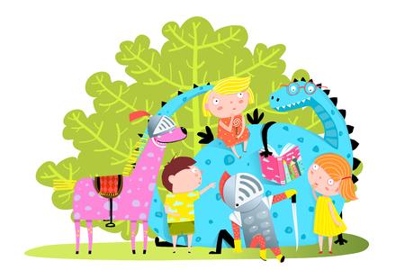 Illustration pour Fun Group of little kids playing with magic dragon. - image libre de droit