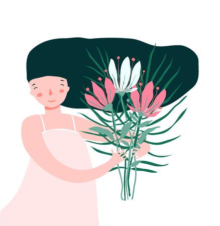 Ilustración de Pretty woman with flowers bunch smiling happy card. - Imagen libre de derechos