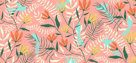 Ilustración de Blooming design for textile or wallpaper with birds. - Imagen libre de derechos