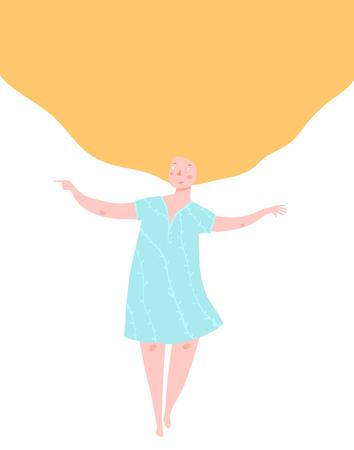 Illustration pour Beautiful girl with yellow big hair design. - image libre de droit
