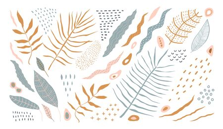 Illustration pour Floral abstract shapes and leaves for natural modern tropical natural botany design. - image libre de droit