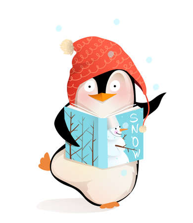 Illustration pour Happy Penguin reading book story about snowman and winter holidays, cute smiling children character Christmas greetings. Vector cartoon illustration for kids. - image libre de droit