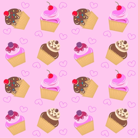 Cupcake Pattern Wallpaper Mural Thumbnail