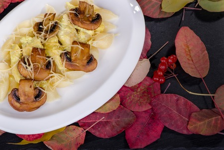 pasta with mushrooms and chicken curry on a black background with autumn leaves