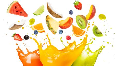 Photo pour mixed fruit falling in colorful juices splashing - image libre de droit