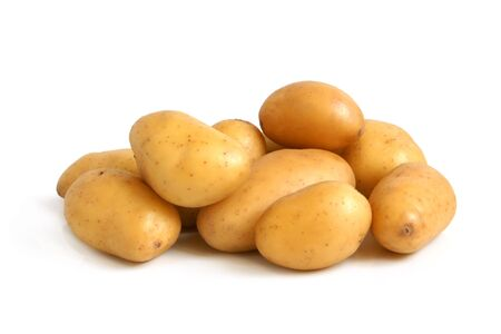 Fresh potatoes on a white background