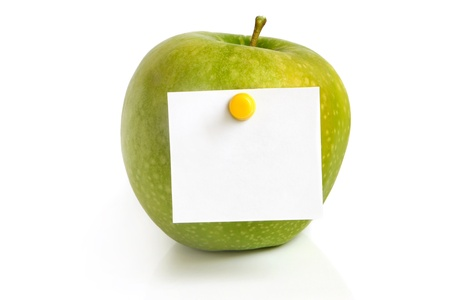 Green apple with blank on a white background