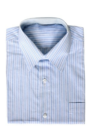 Blue pinstriped dress shirt on a white background