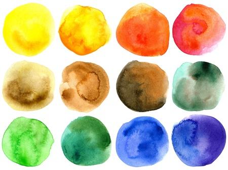 Set of abstract hand drawn watercolor circles
