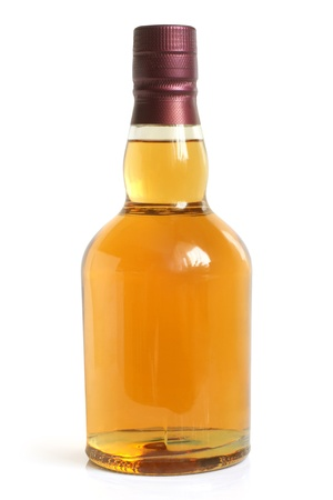 Bottle of alcoholic drink on a white background