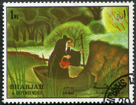 SHARJAH & DEPENDENCIES - CIRCA 1972: A stamp printed by Sharjah & Dependencies devoted fifty years of Walt Disney cartoon characters, shows Wicked Queen