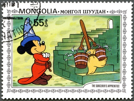 MONGOLIA - CIRCA 1983: A stamp printed by Mongolia shows Scenes from Walt Disney's The Sorcerer's Apprentice, series, circa 1983