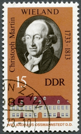 GERMANY - CIRCA 1973: A stamp printed in Germany shows Christoph Martin Wieland (1733-1813) and his Home in Ossmannstedt, circa 1973