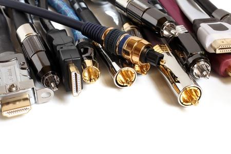 Photo pour Group  of audio/video cables on a white background - image libre de droit