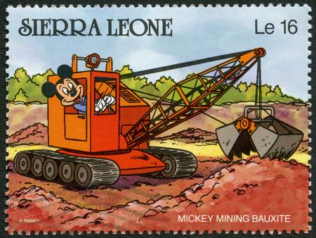 SIERRA LEONE - CIRCA 1990: A stamp printed in Sierra Leone shows Mickey Mouse mining bauxite, Walt Disney Characters, circa 1990