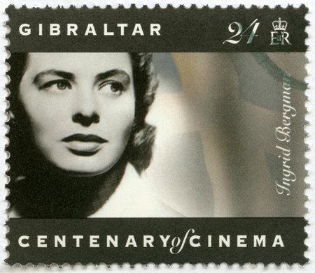 GIBRALTAR - CIRCA 1995: A stamp printed in Gibraltar shows Ingrid Bergman (1915-1982), actress, circa 1995