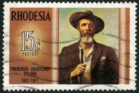 RHODESIA - CIRCA 1971: A stamp in Rhodesia shows Frederick Courteney Selous (1851-1917), explorer, big game hunter, series Famous Rhodesians, circa 1971