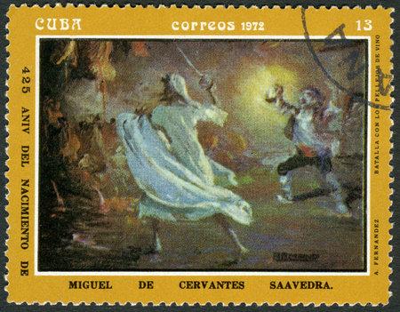 CUBA - CIRCA 1972: A stamp printed in CUBA show batalla con los pellejos de vino, dedicated the Miguel de Cervantes Saavedra (1547-1616), Spanish author,circa 1972