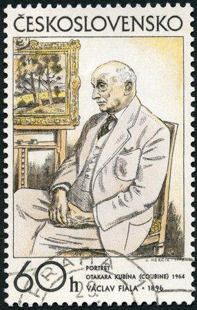 CZECHOSLOVAKIA - CIRCA 1972: A stamp printed in Czechoslovakia shows Portrait of Otakar Kubin, 1962 by Vaclav Fiala, from series Czech and Slovak graphic art, circa 1972