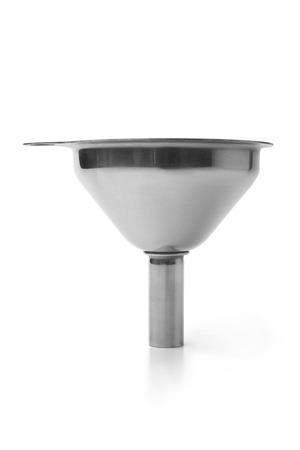 Stainless steel funnel on white background