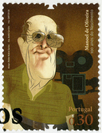PORTUGAL - CIRCA 2008: A stamp printed in Portugal shows Manoel Candido Pinto de Oliveira, film director and screenwriter, series Figures of Portuguese History and Culture, circa 2008