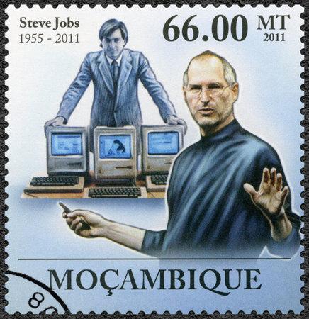 MOZAMBIQUE - CIRCA 2011: A stamp printed in Mozambique shows portrait of Steve Jobs (1955-2011), circa 2011