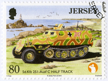 JERSEY - CIRCA 2013: A stamp printed in Jersey shows SD KFZ 251 - Ausf C Half Track, series Military Vehicles, circa 2013