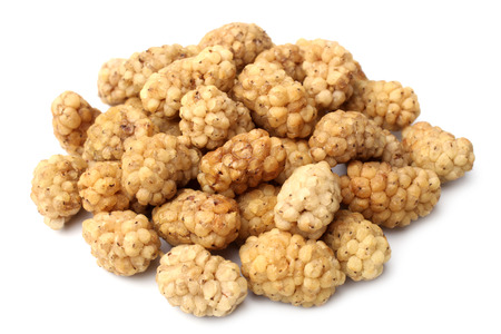 Dried white mulberries on white background