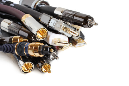 Group of audio/video cables on white background