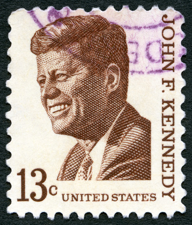 USA - CIRCA 1965: A stamp printed in USA shows John F. Kennedy (1917-1963), series Prominent Americans Issue, circa 1965