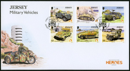 JERSEY - CIRCA 2013: A stamp printed in Jersey shows Stoewer R200, Kettenkrad NSU HK 101, Hmmwv M998, Kubelwagen Type 82, SD KFZ 251 - Ausf C Half Track, Ford Willys Jeep GPW, series Military Vehicles, circa 2013