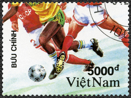 VIET NAM - CIRCA 1991: A stamp printed in Viet Nam shows Soccer, dedicated 1992 Summer Olympics Games, Barcelona, circa 1991