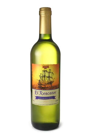 ST. PETERSBURG, RUSSIA - April 30, 2016: Bottle of El Rescator, Vino Blanco Seco, Spain
