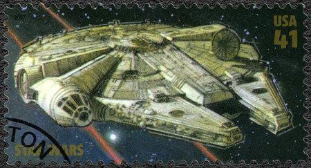 UNITED STATES OF AMERICA - CIRCA 2007: A stamp printed in USA shows Millennium Falcon, series Premiere of Movie Star Wars 30 anniversary, circa 2007