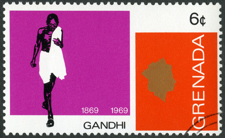 GRENADA - CIRCA 1969: A stamp printed in Grenada shows portrait of Mohandas Karamchand Gandhi (1869-1948), anniversary 100 years of Mahatma Gandhi, leader in India fight for independence, circa 1969