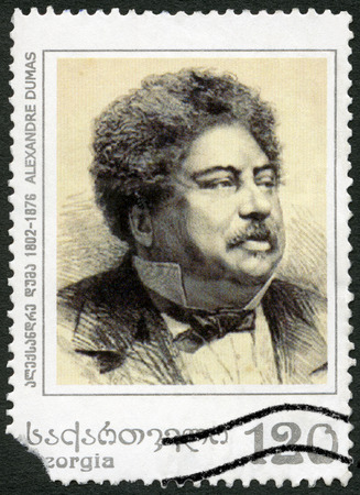 GEORGIA - CIRCA 2003: A stamp printed in Georgia shows Alexandre Dumas Pere (1802-1870), French Novelist, circa 2003