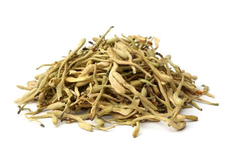 Photo pour Dried honeysuckle flower tea (Jin Yin Hua) on white background - image libre de droit