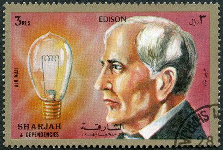 Photo for SHARJAH & DEPENDENCIES - CIRCA 1972 : A stamp printed in Shiarjah & Dependencies shows Thomas Alva Edison (1847-1931), circa 1972 - Royalty Free Image
