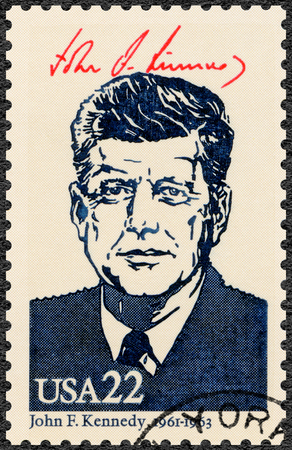 UNITED STATES OF AMERICA - CIRCA 1986: A stamp printed in USA shows Portrait of John Fitzgerald Kennedy (1917-1963), 35th president of the United States, series Presidents of USA, circa 1986