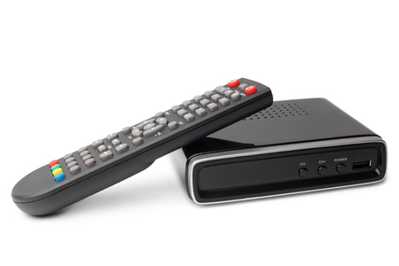 Photo for Digital TV tuner with remote control on white background - Royalty Free Image