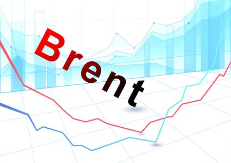 Foto de Stock Market Graph and Bar Chart. Fall in the price of brent crude oil - Imagen libre de derechos