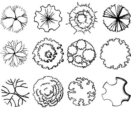 Illustration for A set of treetop symbols, for architectural or landscape design - Royalty Free Image
