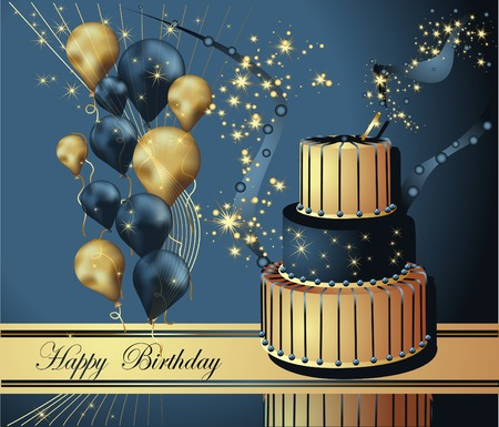 Illustration pour Vector Illustration of a Happy Birthday Greeting Card - image libre de droit