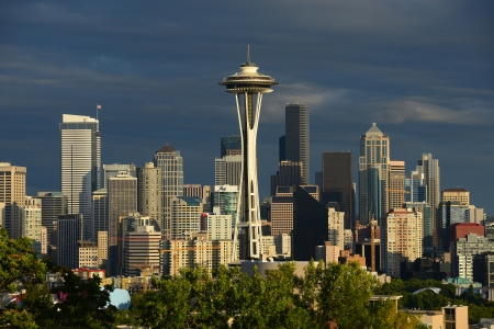 seattle downtown with space needle in the evening