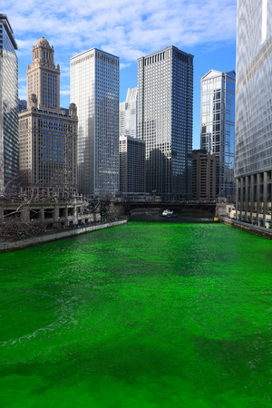 chicago green river during Saint Patrick day