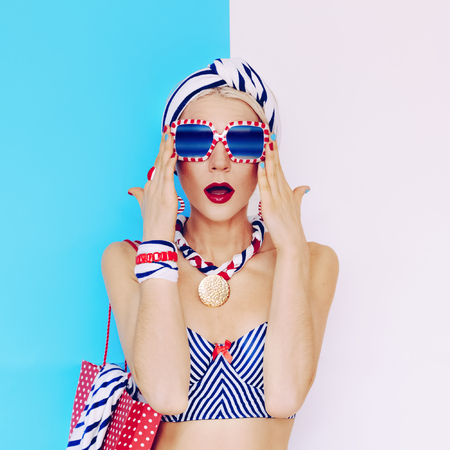 Summer lady in Glamorous vintage style. Marine fashion