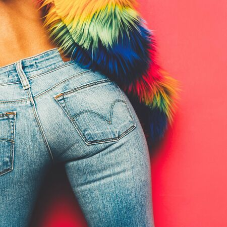 Model Disco Ass Country style fashion accessories. Classic jeans and glamorous fur coat