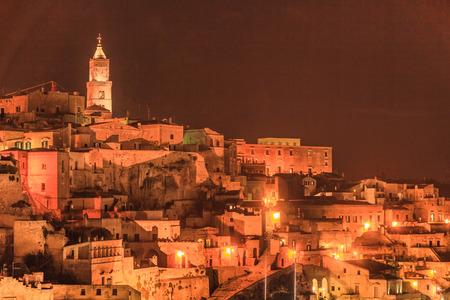 Photo pour Ancient town of Matera (Sassi di Matera) at night. Italy - image libre de droit