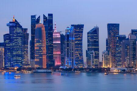 architecture of Doha at night. Doha, Ad-Dawhah, Qatar.